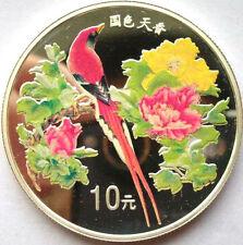 China 1999 Pheasant 1oz 10 Yuan Colour Silver Coin,Proof