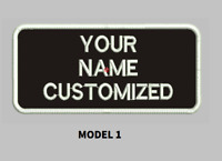 """LOGO CUSTOMIZED EMBROIDED  PATCH   4"""" X 2""""  text only ROUND CORNERS"""
