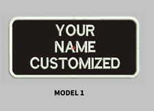 "LOGO CUSTOMIZED EMBROIDED  PATCH   4"" X 2""  text only ROUND CORNERS"