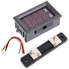 Red Blue 0-100V/50A Digital Voltmeter Ammeter 2in1 DC Volt Amp Meter W/ Shunt