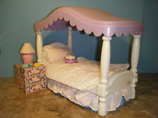 LITTLE TIKES MY SIZE DOLLHOUSE CANOPY BED w/BEDDING, NIGHT STAND & ACCESSORIES