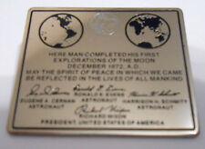 Apollo 17 Final Mission NASA Space Program Moon Plaque Lapel Pin Cernan