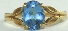 14K GOLD FILIGREE 9X7MM 2.5 CARAT SWISS BLUE TOPAZ RING SIZE 6.75