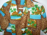 MENS VINTAGE BROWN AQUA POLY ROYAL ISLANDER 1950? HAWAIIAN SHIRT SIZE L M 42
