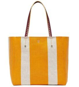 New MCM Ilse Yellow/Beige Canvas Medium Shopper Tote Bag MWP8SVW50YX001