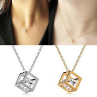 Womens Crystal Magic Cube Pendant Chain Necklace Pendant Fashion Jewelry Gift