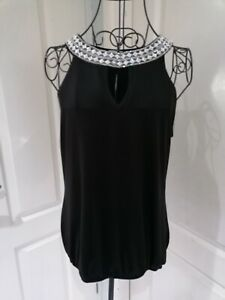 Womens Black Diamonte Collar Top Evening Party Sleeveless Round Neck Top Size 12