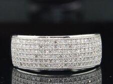 Para hombres 10K Oro Blanco .50CT Diamante Pave Anillo de bodas 8MM