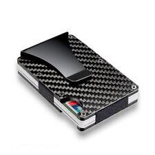 Men Slim Carbon Fiber Credit Card Holder RFID Blocking Metal Wallet Money Clip O