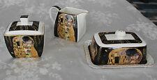 Round CAKE PLATE & STAND with NAPKIN HOLDER Gustav Klimt THE KISS Fine China