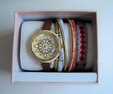 NEW Women's WATCH Gold SUN DAISY FLOWER Brown Band w/ 6 Bangles Bracelets Set