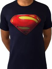 Superman Man of Steel Logo Licensed TV Movie DC Comics Navy Blue Mens T-shirt L