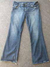 American Eagle Jeans Womens Sz 16 Long Distresesd Stretch Bootcut Low Rise Denim