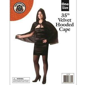 Adults Velvet Hooded Short Dracula Cape Cloak Black Halloween Fancy Dress BNWT