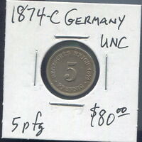 GERMANY - FANTASTIC  HISTORICAL COPPER-NICKEL 5 PFENNIG, 1874 C