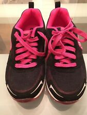 SKECHERS Skech-Air Youth Size 1 Athletic Shoe, Black/Pink New