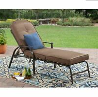 Outdoor Chaise Lounge Chair Adjustable Reclining Patio Seating Yard Deck Cushion