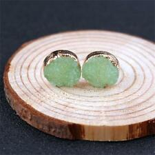 Natural Resin Stone Round Multi Color Ear Stud Raw Crystal Druzy Quartz Earrings