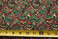 By 1/2 Yd, Vintage, Red Green Metallic-Gold Quilt Cotton, Cranston, N6387