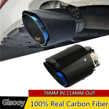 76mm Glossy Carbon Fiber Exhaust Pipe Muffler Tip Blue Burnt For Car Truck SUV