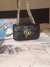 GUCCI Small Marmont Black Matelasse Shoulder Doubled Convertible Bag