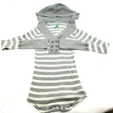 Free People Long Sleeve Stretch Sweater Hoodie 6 Button Striped Womens M