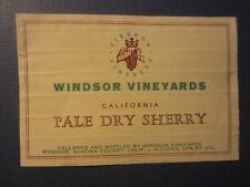 Old Vintage - WINDSOR VINEYARDS - Pale Dry Sherry - WINE LABEL - CA.