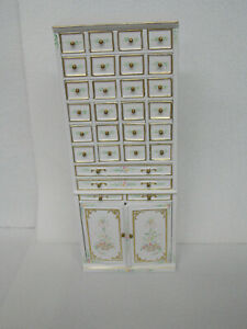DOLLHOUSE CABINET- W/ DRAWERS- WHITE- HANDPAINTED