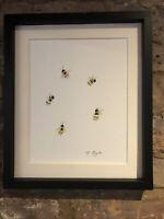 Bumble Bees Original Watercolour Painting, Original Art Not A Print