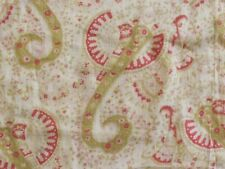Antique Victorian 1800s Light COTTON print PAISLEY fabric 2.8 yds bag pink green