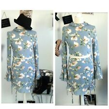 Missguided 60s two piece top blouse floral skirt boho hippy grey blue size 10