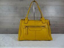 Fossil Yellow Leather Satchel Shoulder Bag Handbag Tote Purse