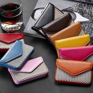 Portable magnetic lock PU leather business credit card ID card holder wallet