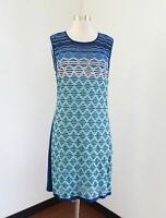 NWT $298 Magaschoni Aqua Blue Ombre Yarn Knit Sleeveless Dress Size L Striped