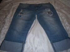 Almost Famous Jr 17 (37x21) Distressed Metal Studs Cuffed Capri Jeans Stretch