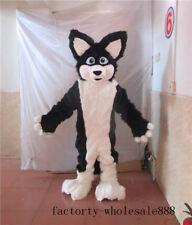 Black Dog fox Mascot Costume Adults Animal Costume long Fur Suit husky h6u7