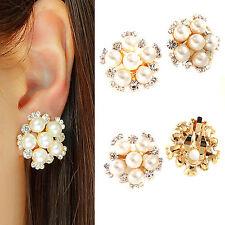 GD Comfy Clip On Cream Ivory Pearl Crystal Rhinestone Round Stud Earrings