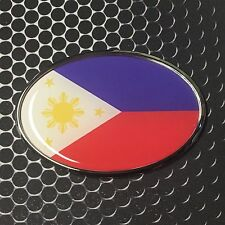 "Philippines Oval Flag CHROME Emblem Proud Car Domed Sticker 3D 3.25""x 2.25"""