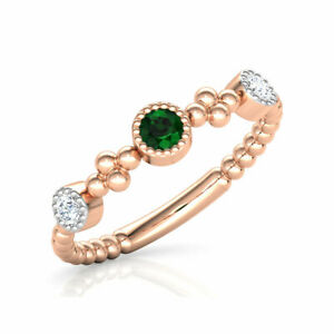 14 K Rose Gold Plating on 925 Silver Round Cut Emerald Engagement Ring