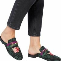 Steve Madden Women's Kandi Embroidered Floral Mules, Green Multicolor Size 6.5