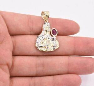"1 1/2"" Saint Barbara Diamond Cut Ruby Pendant Real 10K Yellow White Gold"