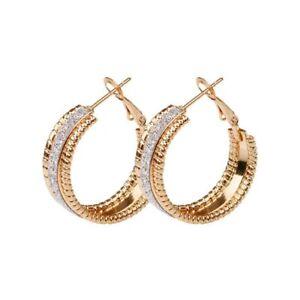 Boucles d'oreille créoles Swarovski® Element polis LUXE top qualité dorées