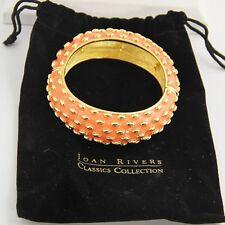 ESTATE QVC Jewelry JOAN RIVERS CORAL ORANGE GOLD CHUNKY STRETCH BANGLE BRACELET