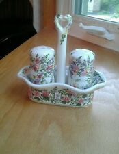 Table Tops Unlimited Spring Garden Hand Painted Salt & Pepper Set 3 Piece EUC
