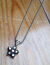 Pretty Crystal Flower Necklace/Simple/Dainty/Sparkly/Silver Colour Diamanté