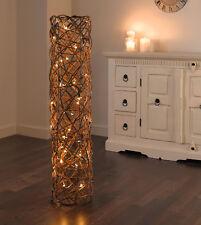STEHLAMPE Lichter-Röhre Säule aus Weide geflochten mit Lichterkette