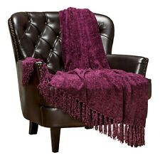 Chanasya Chenille Velvety Elegant Decorative Throw Blanket for Sofa Chair Bed