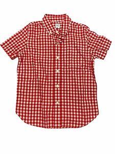 NWT GAP Kids Boys Button-Up Top Sz S-M-L Red Checks Short Sleeves #573755