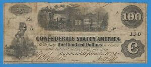 1862 Confederate Currency CSA Richmond One Hundred Dollar $100 Note Civil War