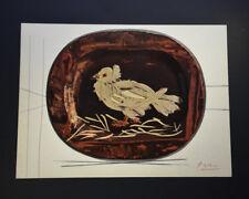 "Pablo Picasso, ""Ceramiques"", Original Print with a white bird on a red plate."